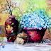 Lukisan Bunga Dalam Keranjang Klasik 100x70cm MB-087