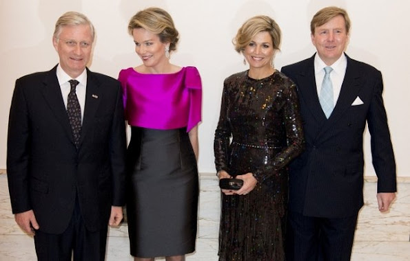 King Philippe and Queen Mathilde of Belgium and King Willem-Alexander and Queen Maxima of The Netherlands attended the opening concert for the Dutch presidency of the European Union council at the Bozar