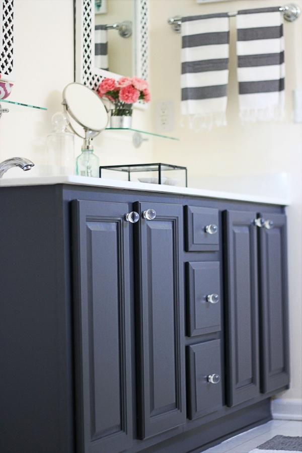 Dark Gray Bathroom Vanity With Black Hardware