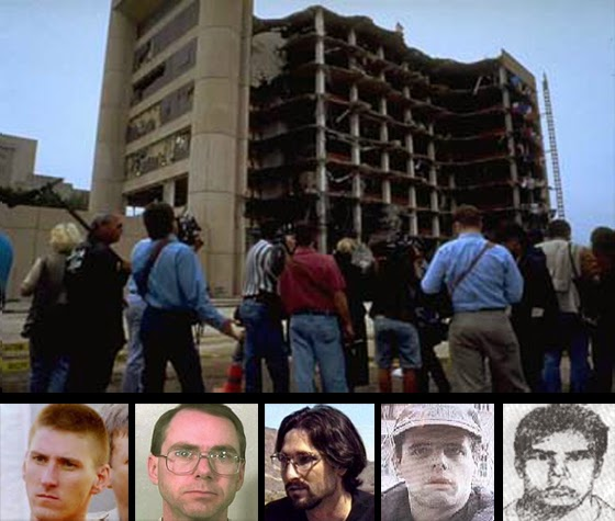 "TOP: Bombed out Federal Building in Oklahoma City. BOTTOM, left to right: Timothy McVeigh followed by some of his  co-conspirators — Terry Nichols, Michael Fortier, the mysterious Andreas Strassmeier, and an FBI sketch of ""Mr. John Doe"" reportedly seen riding with McVeigh in the bomb-filled truck the morning of the bombing."