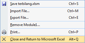 Pilih Close And Return Microsoft Excel Macro Sudah Dibuat