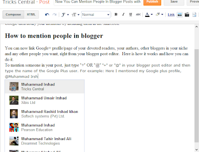 How to mention people in blogger