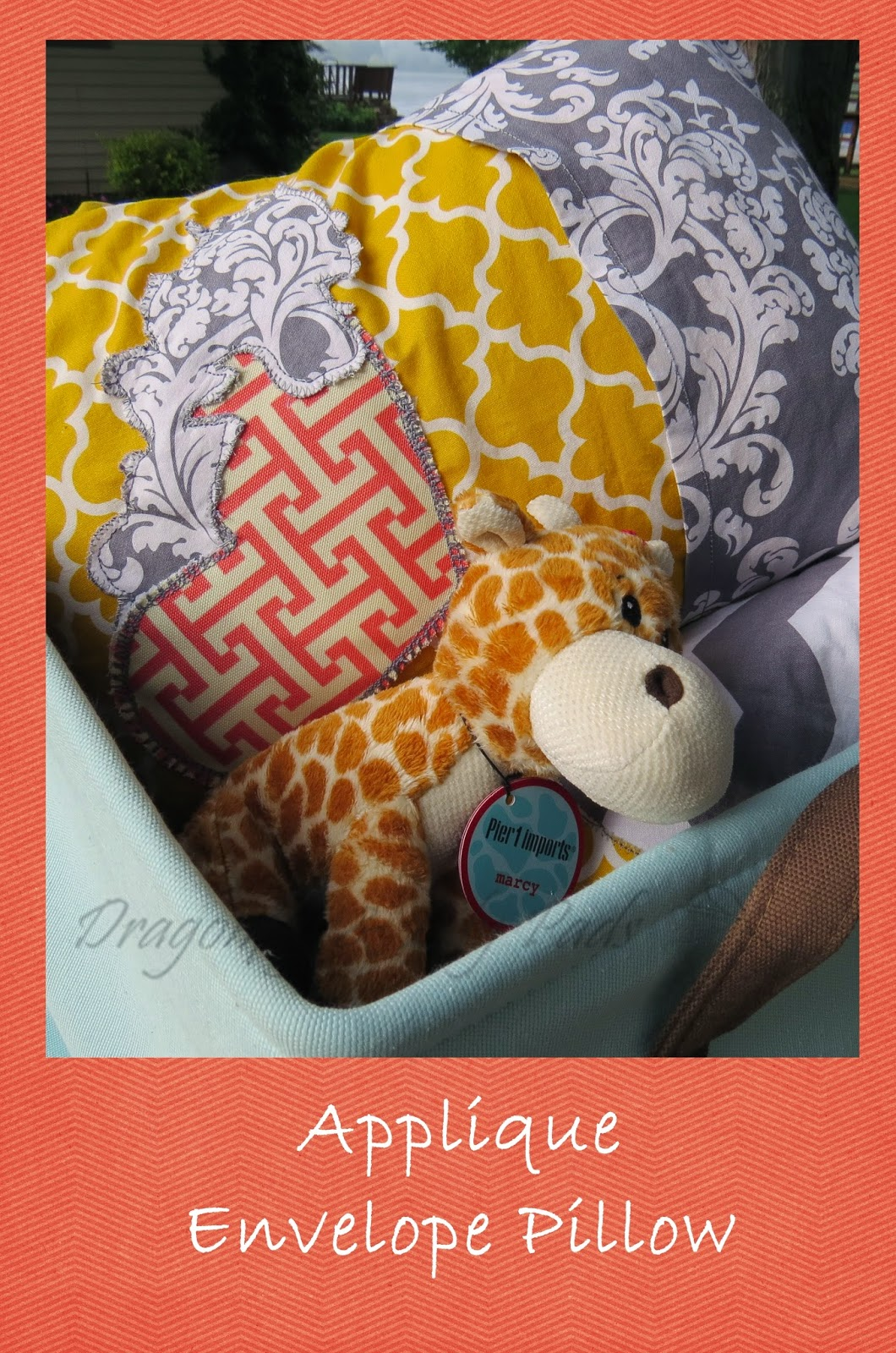 Travel pillow, Heart, Envelope pillow case, Blue Storage basket, Fabric, Stuffed Giraffe, Applique, Yellow, White, Gray, Coral, Quilt, Gift basket
