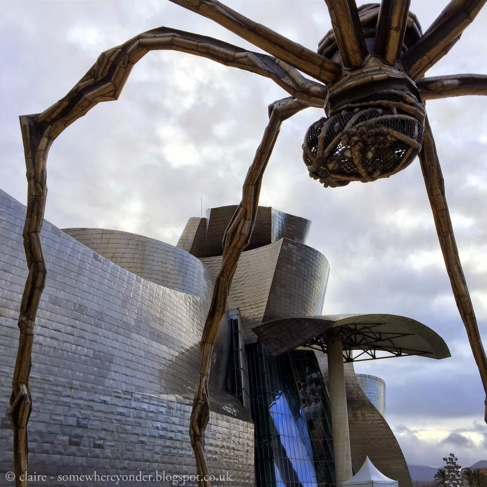 'Maman' by Louise Bourgeois the giant bronze stainless steel spider outside the Guggenheim Museum Bilbao, Spain