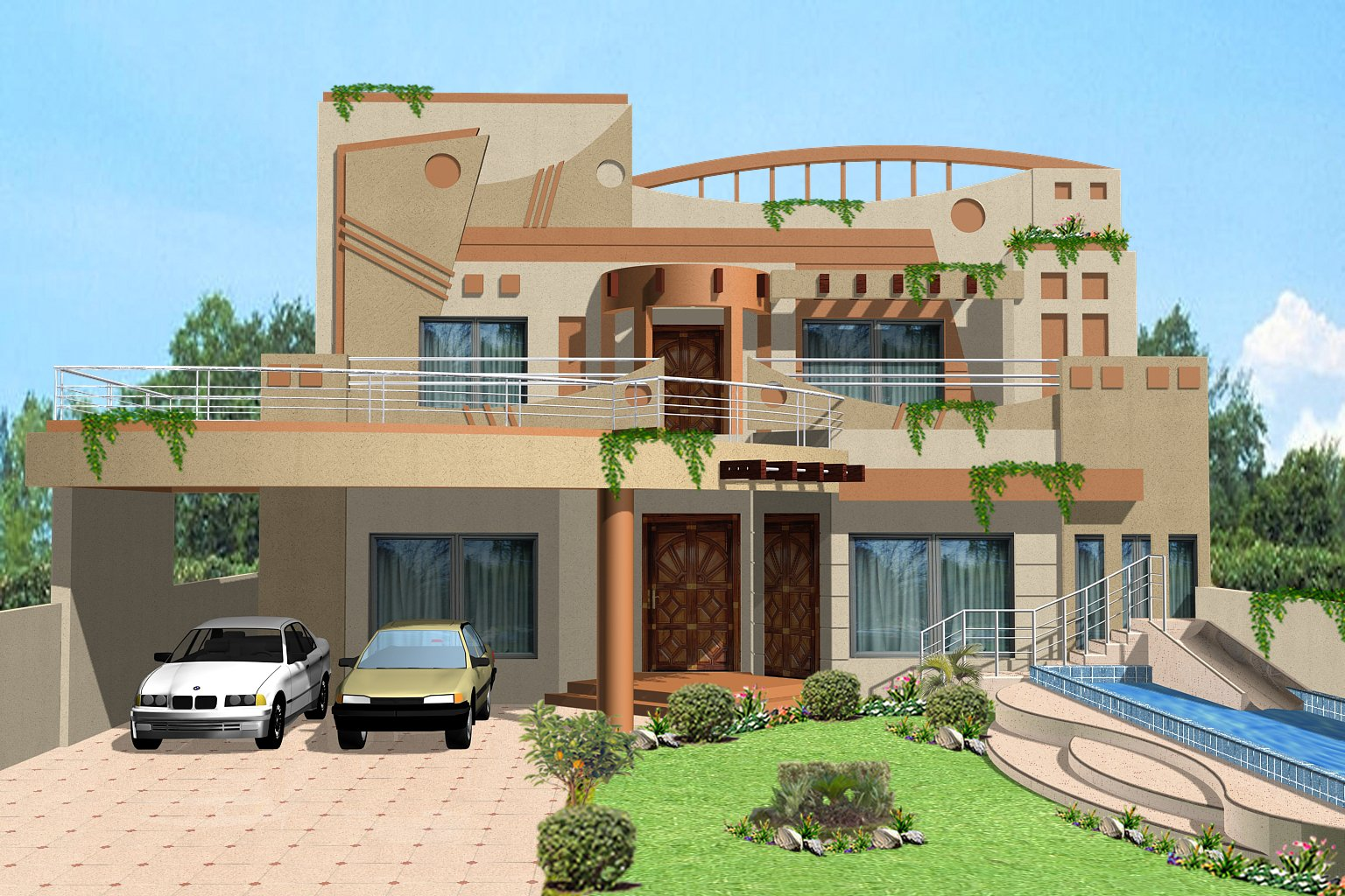 ... Kanal House, Villa, Banglow, Lahore Beautiful 3D House front Elevation
