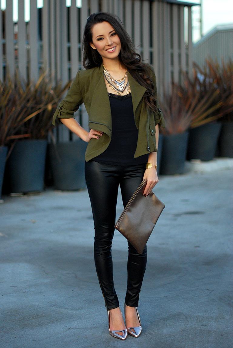 groene leatherlook broek