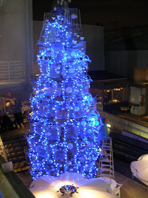 blue Christmas tree make with shopping carts