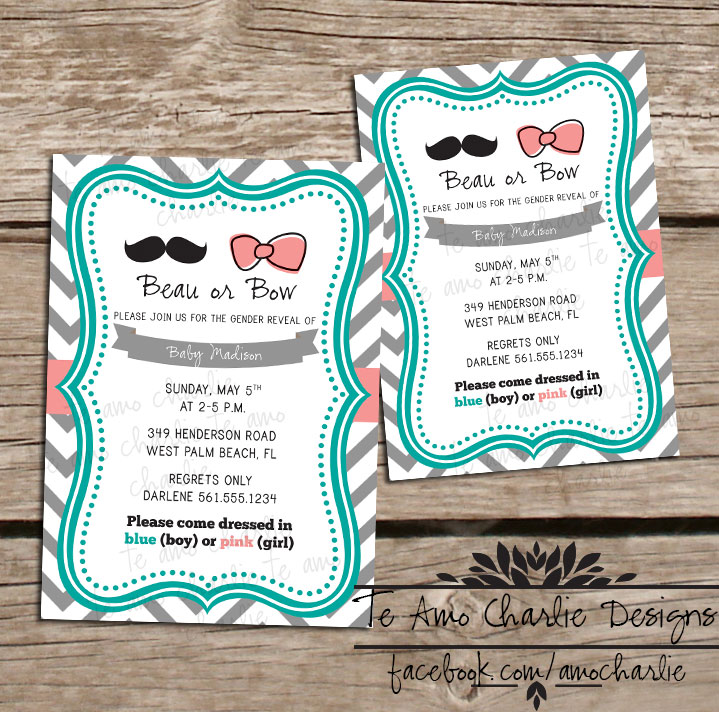 Printable Beau or Bow Gender Reveal Invitations