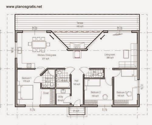 Plano de arquitectura planta de una casa
