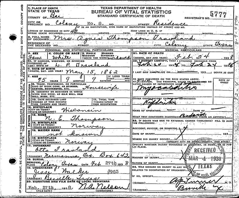 Travland Ancestry: Agnes (Thompson) Travland - death certificate