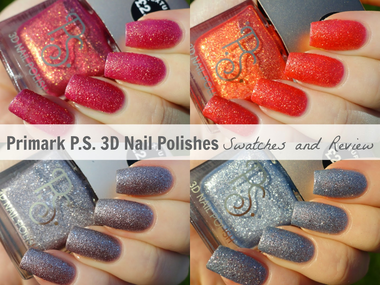Primark PS 3D Texture Nail Polishes Swatches and Review Red Orange Grey Silver Blue