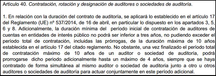 artículo 40 Proyecto Ley Auditoría de cuentas plazo máximo contratación rotación coauditoría