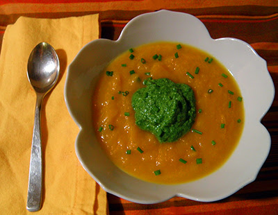 Carrot Soup with Cilantro Pesto and Scattered Chive Garnish