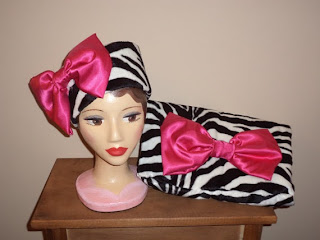 Zebra and Pink Satin Faux Fur Pillbox and Clutch by CopperHairArtist Helen's Hatbox