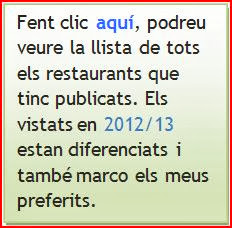 Llista de TOTS els restaurants publicats i que continuen oberts..