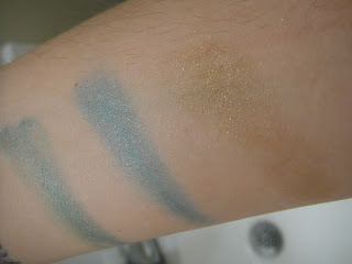 Maybelline's color tattoos, Color tattoo tenacious teal, color tattoo edgy emerald, color tattoo bold gold.