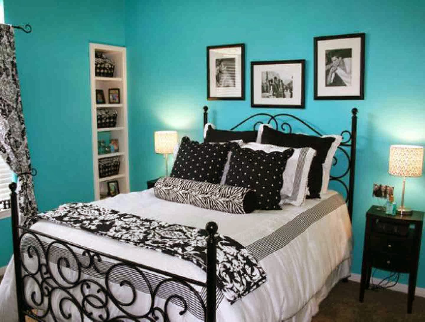 Bedroom Wall Colors Ideas Delectable Of Black White Teal Bedroom Picture