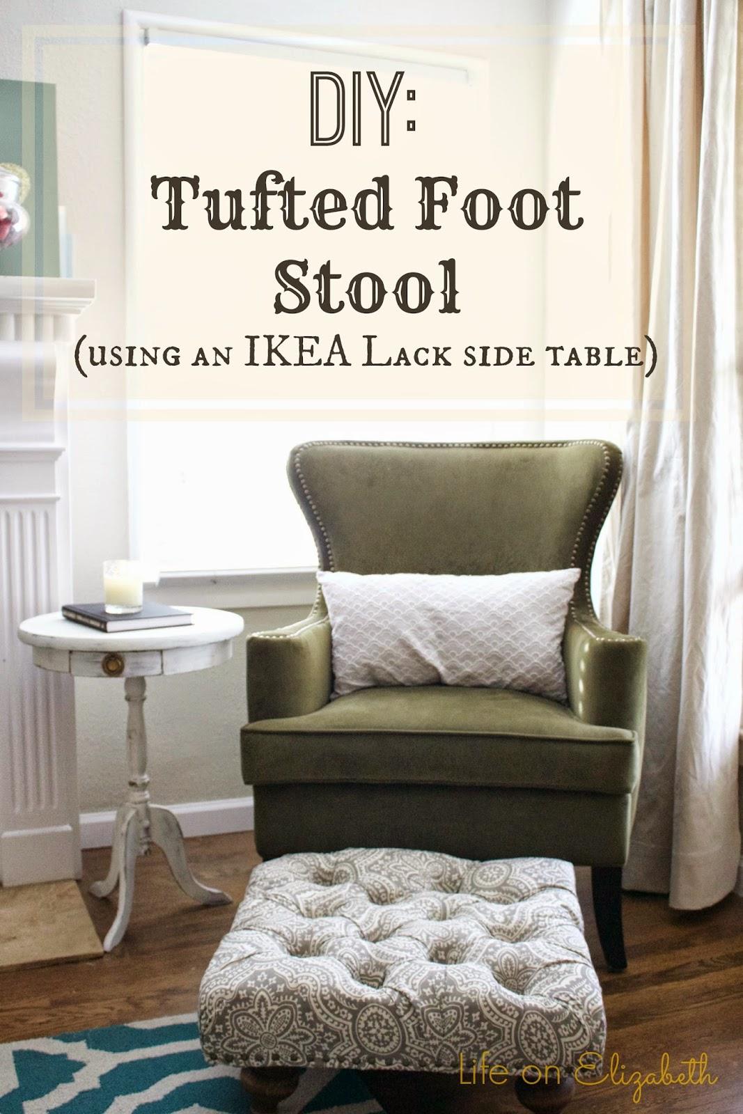 life on elizabeth diy tufted foot stool with ikea lack side table. Black Bedroom Furniture Sets. Home Design Ideas