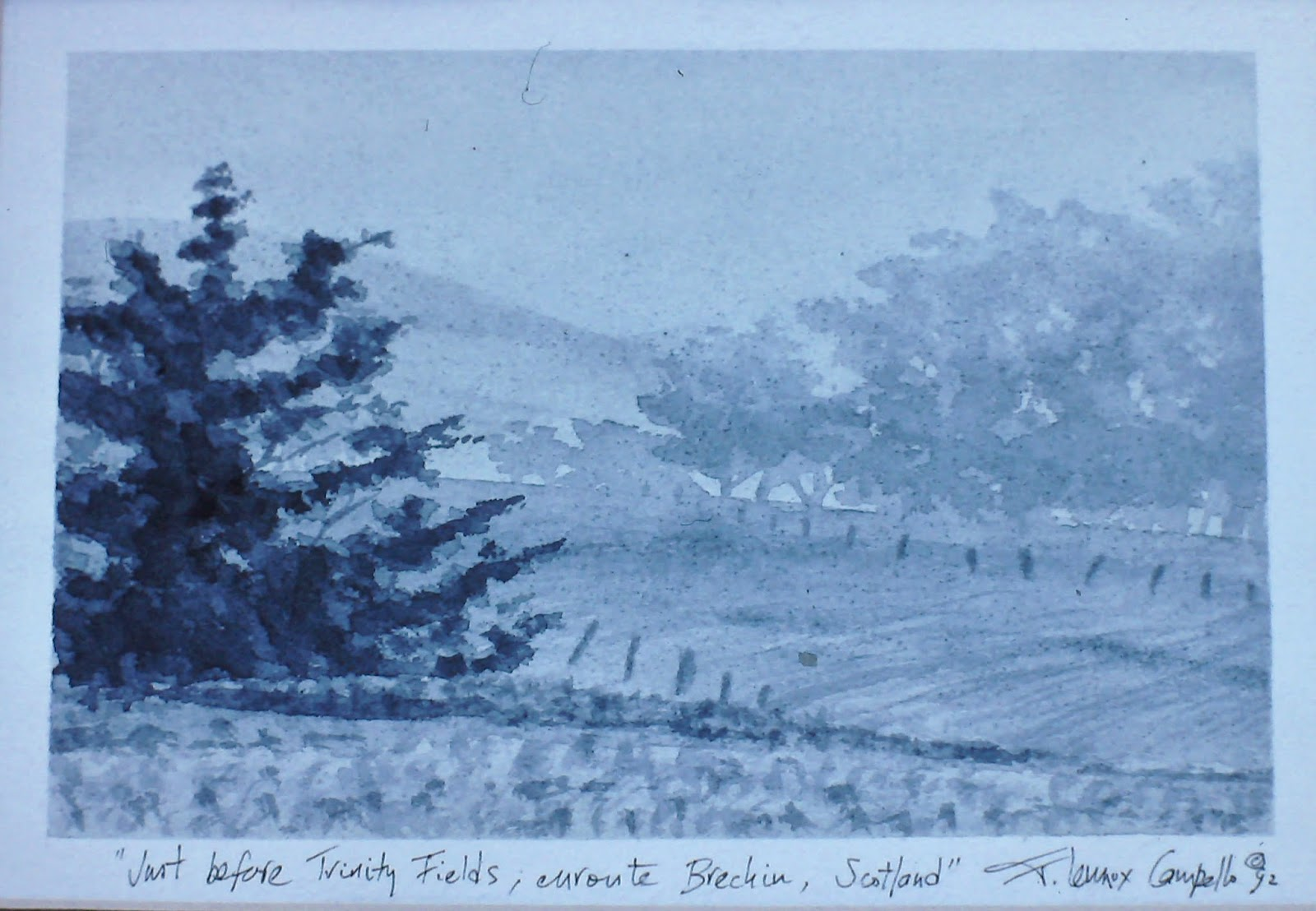 Just Before Trinity Fields, Enroute Brechin, Angus, Scotland  6x10 inches. Watercolor on paper, c. 1992.  In a private collection in Dundee, Scotland