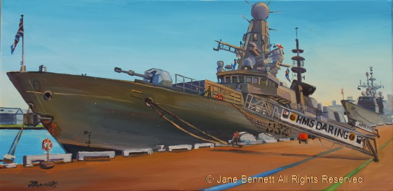 plein air oil painting by artist Jane Bennett of HMS Daring at Barangaroo during International Fleet Review