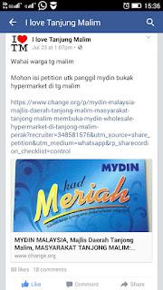Petition Pembukaan Mydin di Tanjung Malim