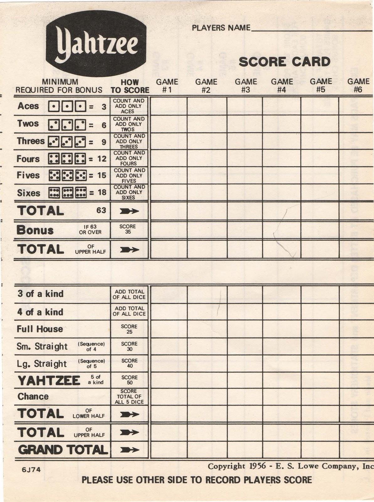 Yahtzee Score Card Printable Printable Sheet Yahtzee Score