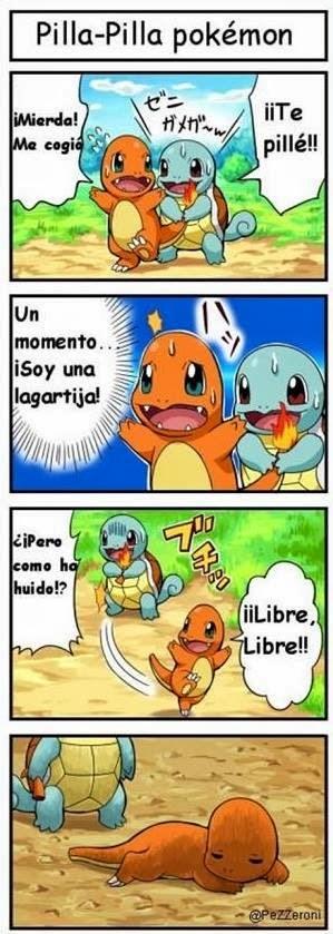 viñeta de humor Pokemon - Charmander y Squirtle jugando al pilla-pilla.