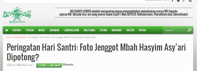 Meluruskan NU Garis Lurus Tentang Foto KH Hasyim As'ari tanpa jenggot Saat Hari Santri
