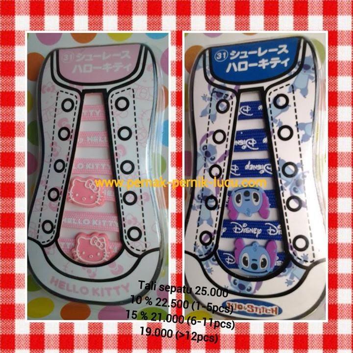 tali sepatu hello kitty; tali sepatu stitch; tali sepatu unik; tali sepatu lucu;  pernak pernik unik; pernak pernik lucu; grosir pernak pernik