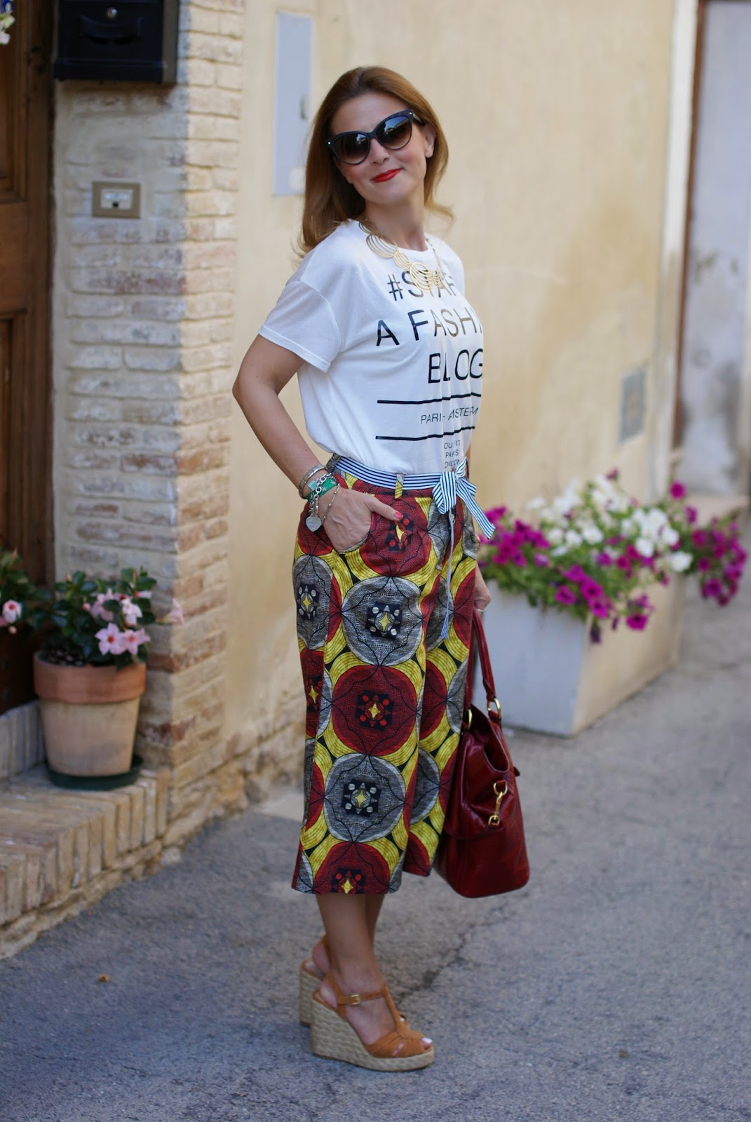 ethnic print culottes, steve madden wedges, Fashion and Cookies, fashion blogger