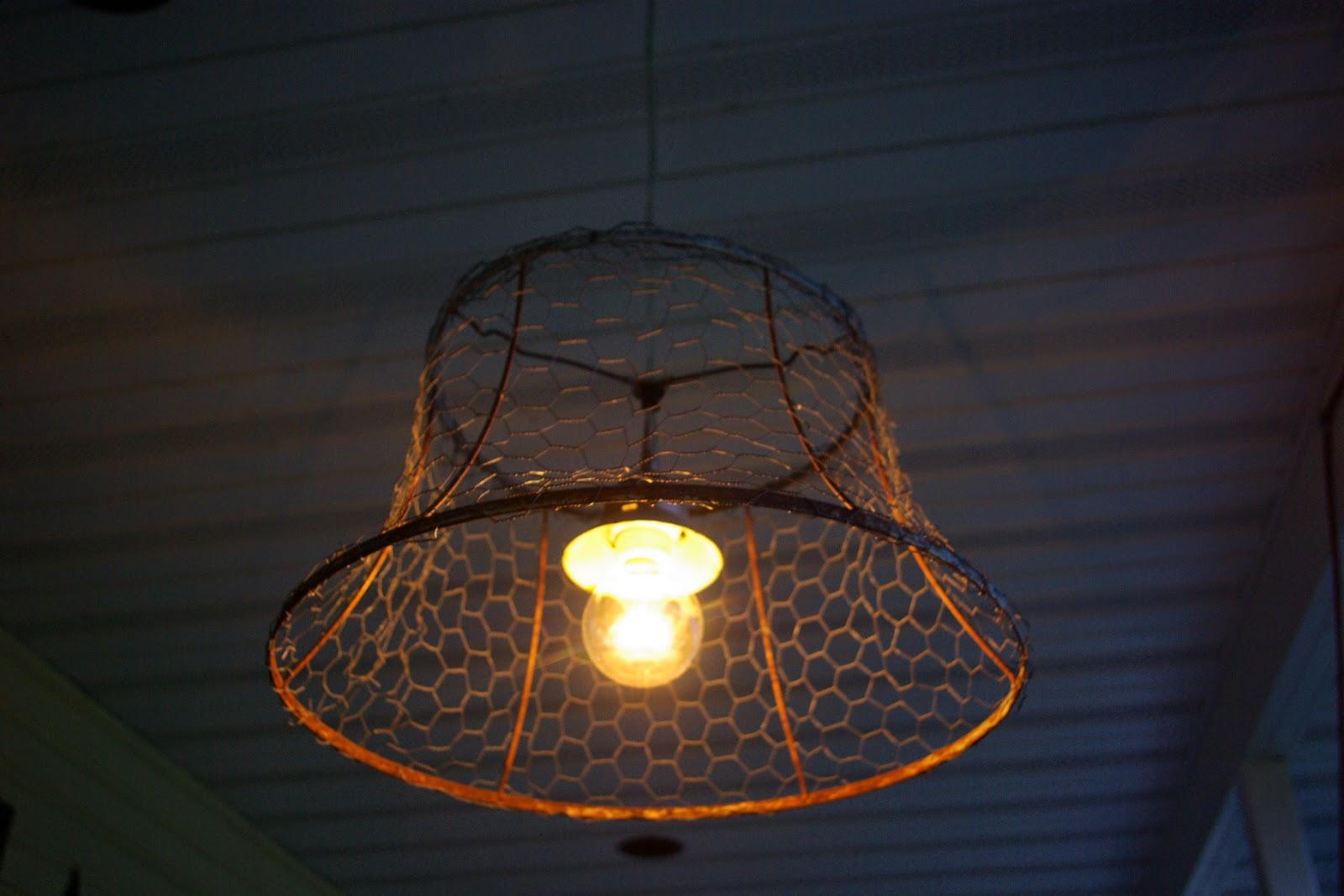 Reclaimed Rustics: Chicken Wire Light Fixture