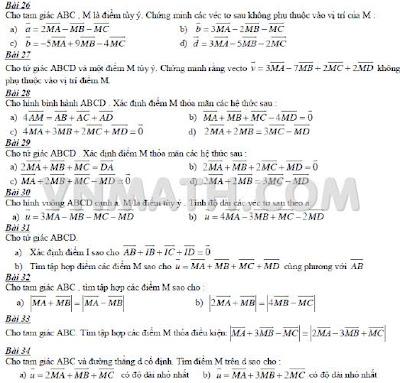 Bài tập Đề kiểm tra Chương Vecto Hình học 10