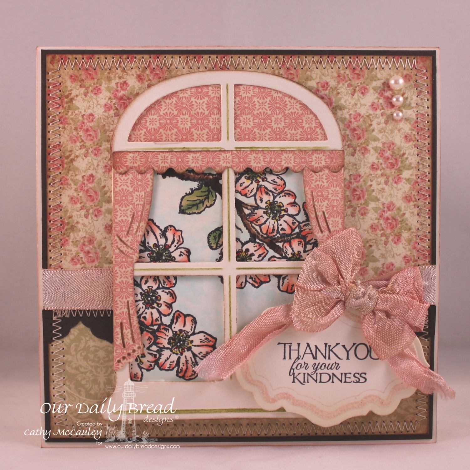 Stamps - Our Daily Bread Designs Cherry Blossom, ODBD Custom Antique Labels and Border Dies, ODBD Custom Window Die,ODBD Blushing Rose Paper Collection