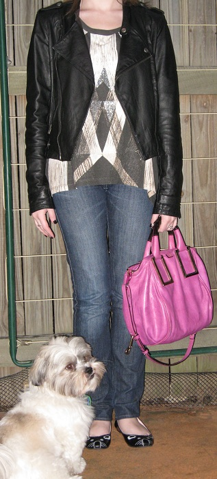 Away From Blue: Leather Jacket, Sass and Bide Tank, Jeans, Chloe ...