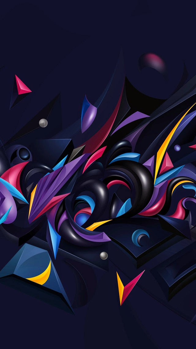 3D Abstract Chaos Color Wallpapers For IPhone 5