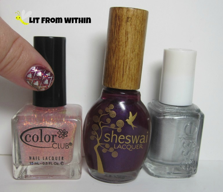 Bottle shot:  Color Club Pink Planet, Sheswai Yowza, and Essie No Place Like Chrome