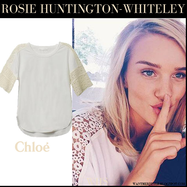 Rosie Huntington-Whiteley in white macrame lace Chloe top what she wore july 28 instagram