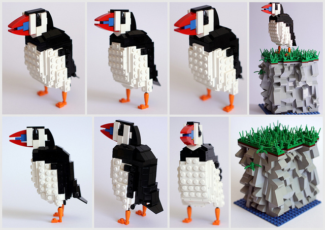pajaros de Lego. frailecillo. The Puffin