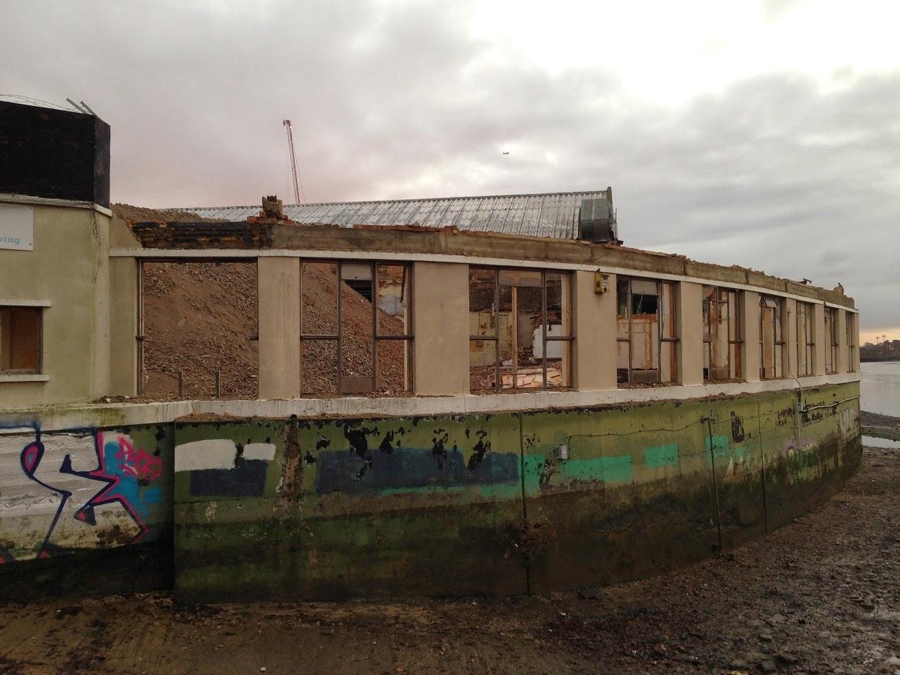 Demolition underway at Queen's Wharf, Hammersmith, London