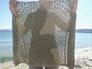 Detalle del calado del chaleco de ganchillo o crochet
