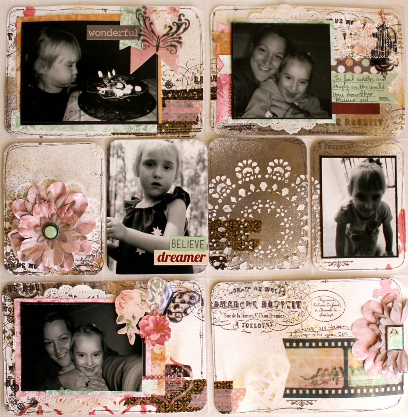 Abigail - Project Life / Misc Me layout by Bernii Miller using the BoBunny Sticky Stencils and Madeline Collection.
