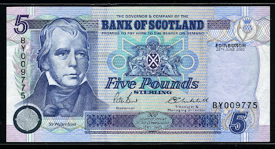 Bank of Scotland currency 5 Pounds bill