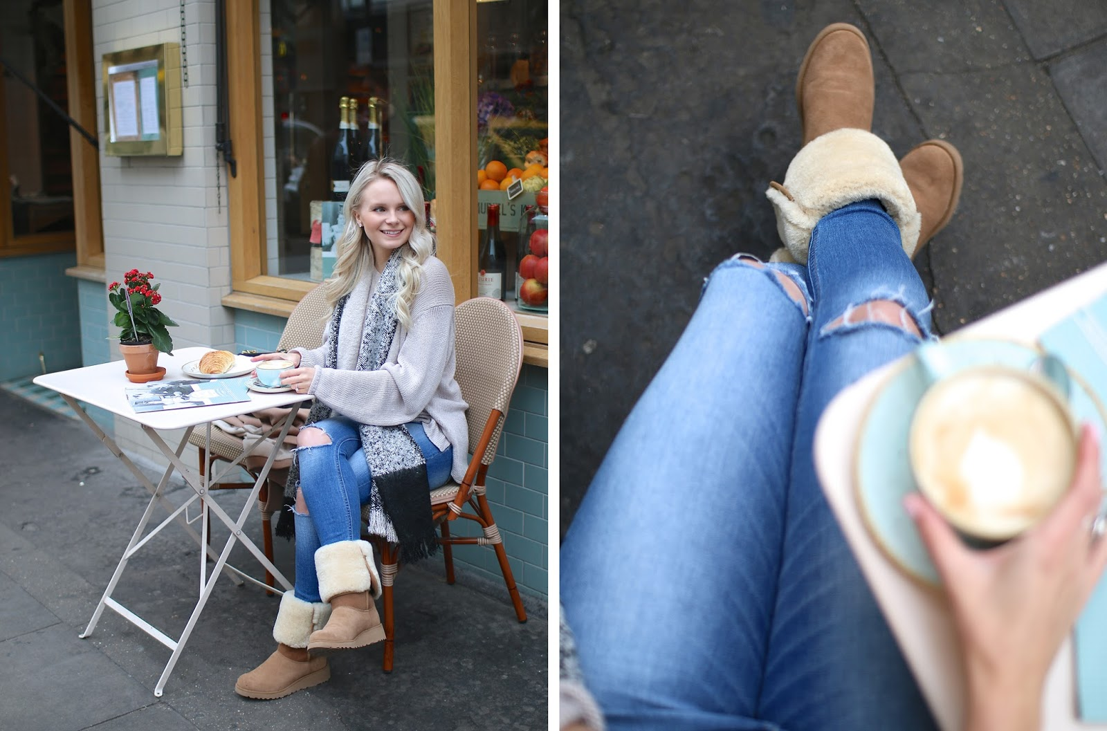 a women wearing a comfortable outfit enjoys a coffee outside in the fall in london