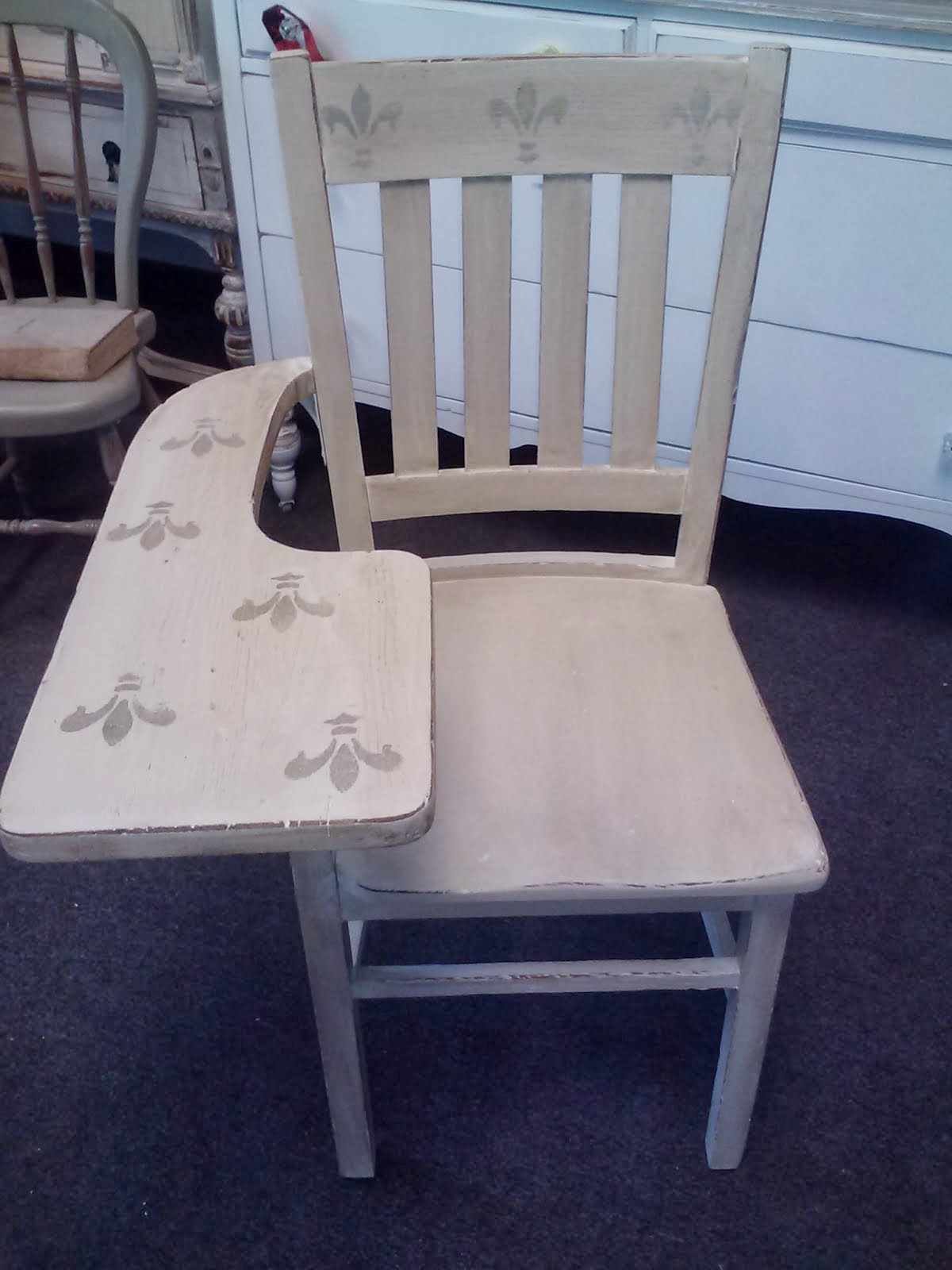 Vintage painted desk with chair set