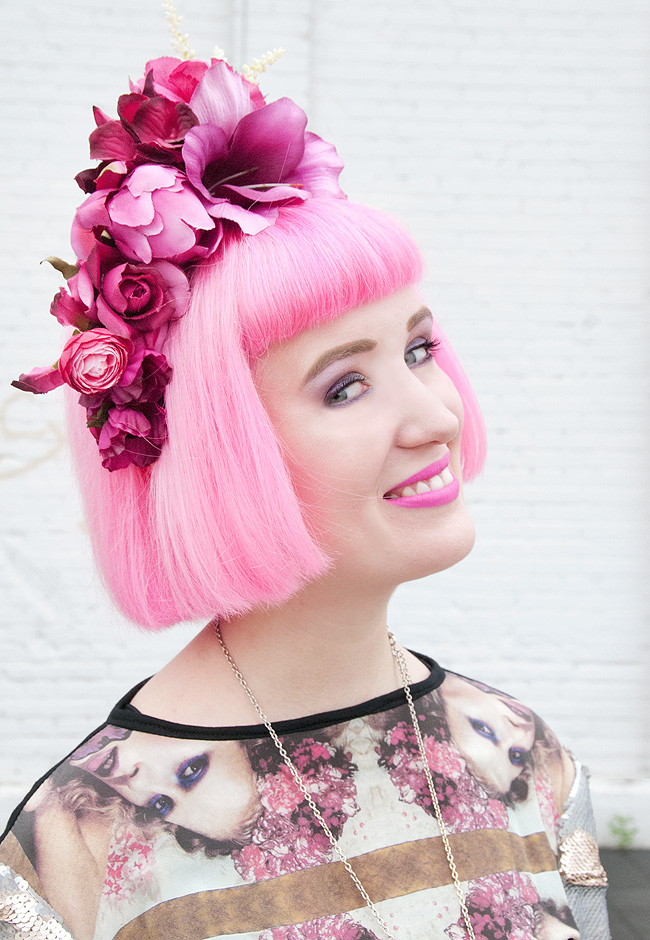 Pearls and Swine, flower crown, pink flower headband
