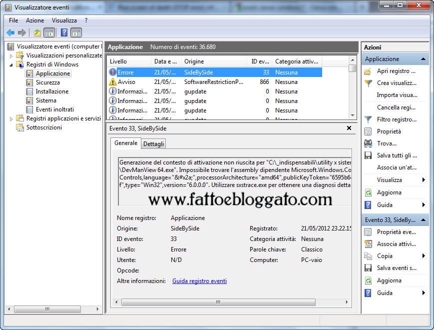 Fatto e bloggato: Recuperare informazioni dagli errori di sistema ...