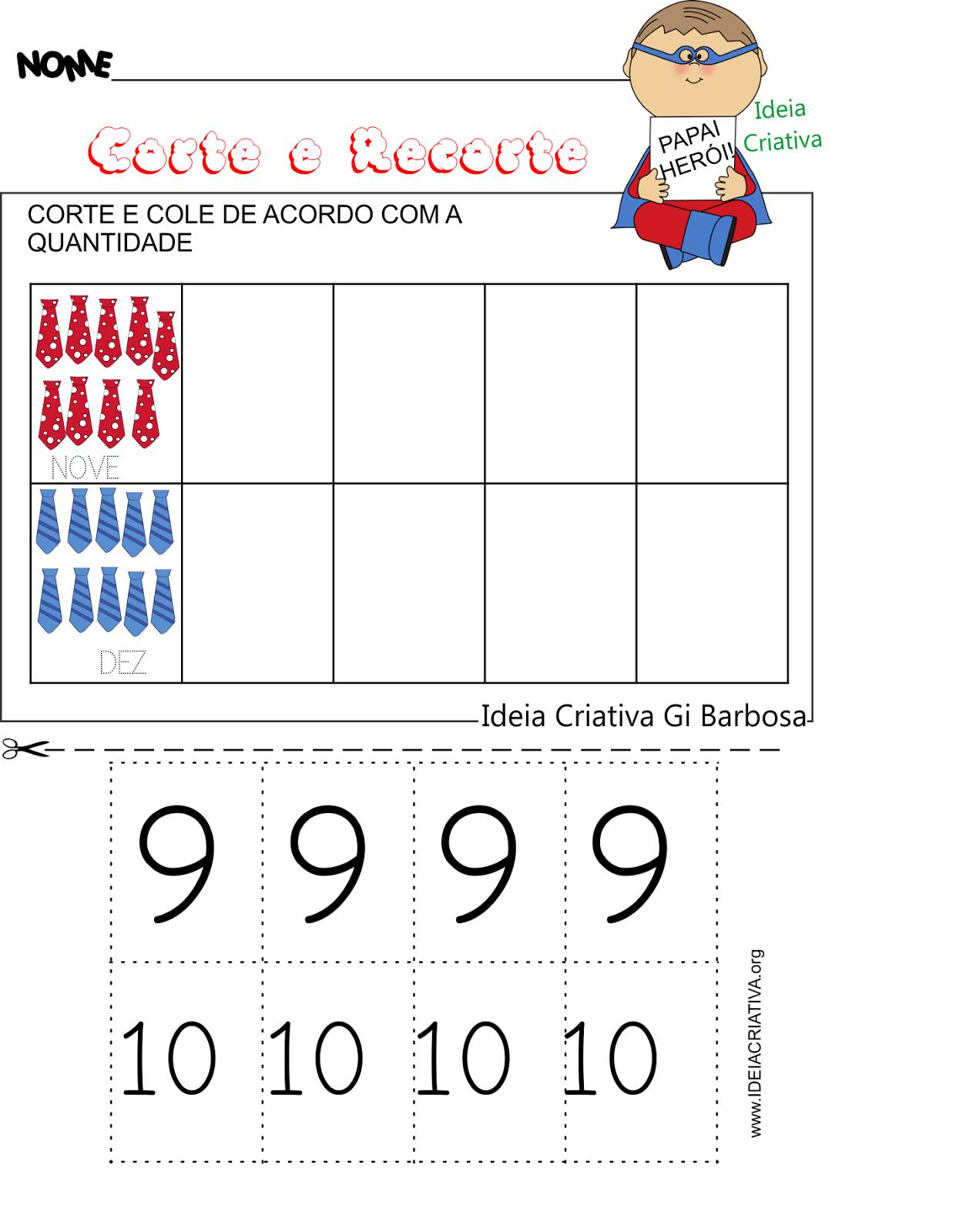 Caderno de Atividades Dia dos Pais Corte e Recorte Educativo