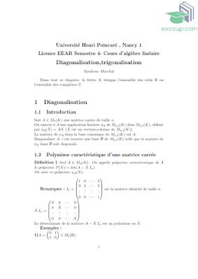 cours d'algebre 2 Diagonalisation-trigonalisation By exosup