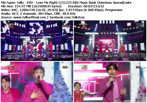 [Perf] EXO – Love Me Right (151225 @ KBS Music Bank Christmas Special)