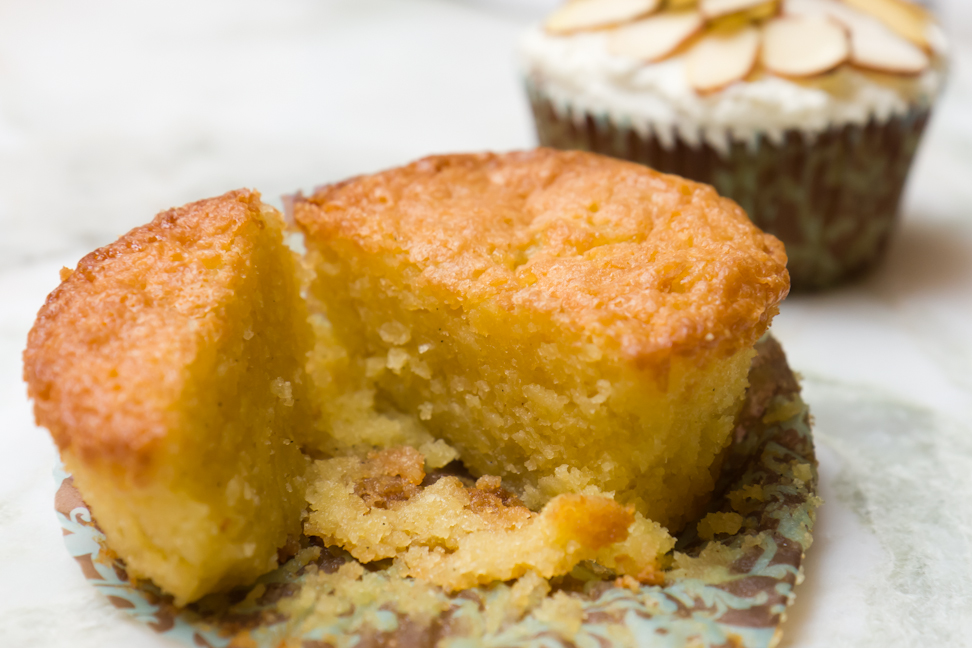 I got the almond amaretto cupcake recipe by converting a flourless almond